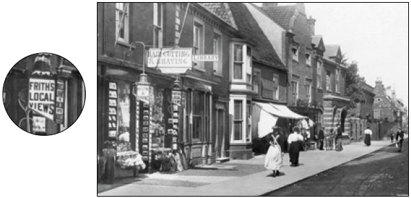 A sign for 'FRITH'S LOCAL VIEWS' outside a shop in Southwold in 1896.