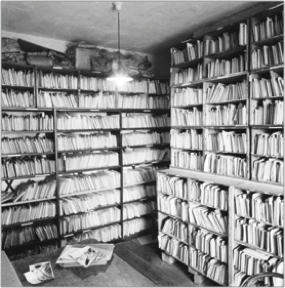 Shelves of Master Prints at F Frith & Co in Reigate, c1970