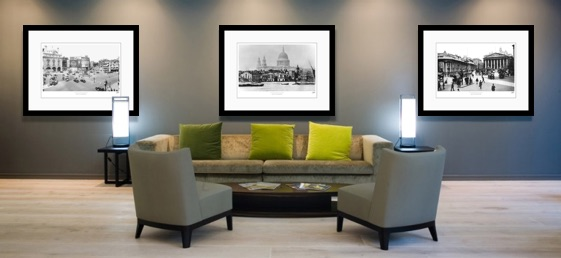 Frith prints hang in a commercial reception space