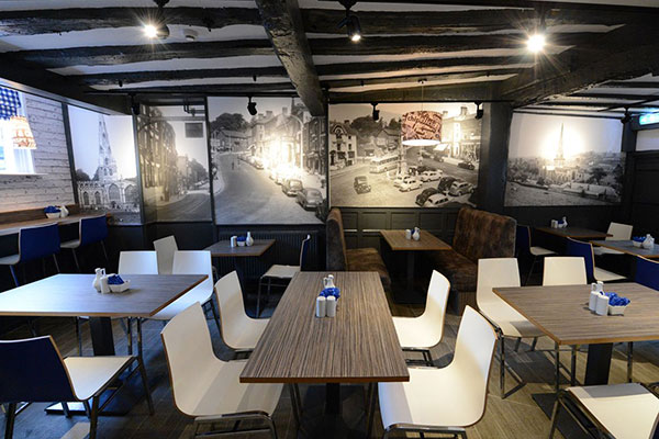 A Frith photo wallpaper in situ in a restaurant